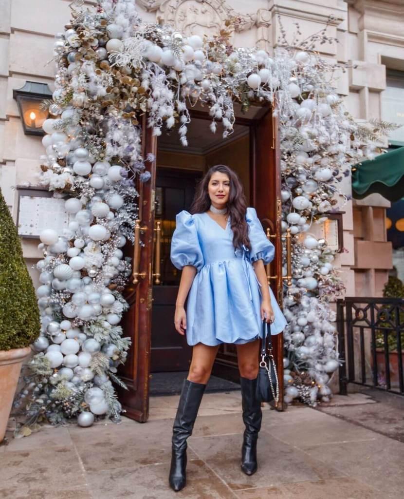 Anoushka Kalila in DREAM GRAMOPHONE JACQUARD MINI WRAP DRESS by Sister Jane
