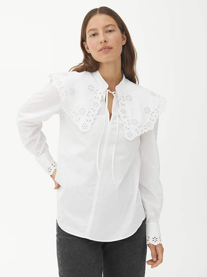 Embroidered Wide Collar Blouse