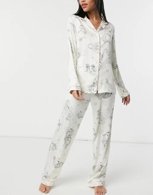 Chelsea Peers sealife printed long sleeved shirt and trousers pyjama set in cream and black