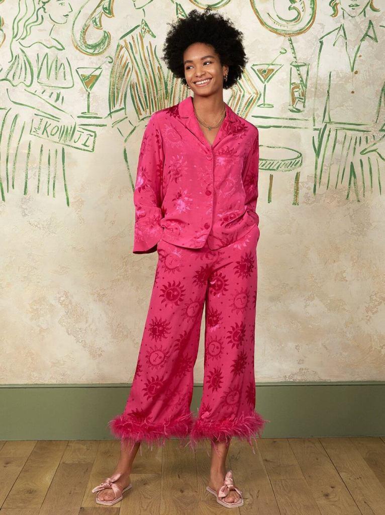 KITRI Studio Apollo Pink Feather Trousers and PJ top