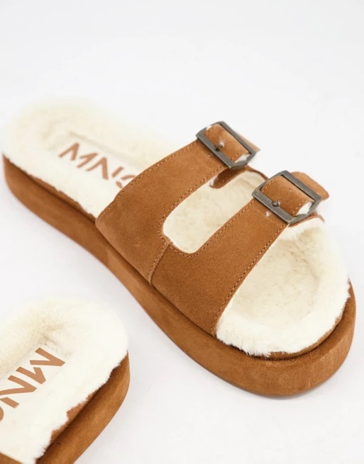 Mango suede slider lounge slippers with faux shearling lining in tan | ASOS