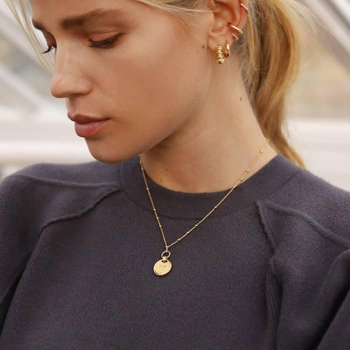 Missoma gold t clip-on initial pendant