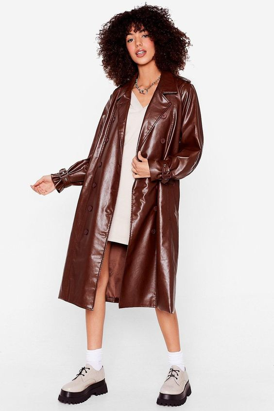 You Faux Leather Know Belted Trench Coat nasty gal