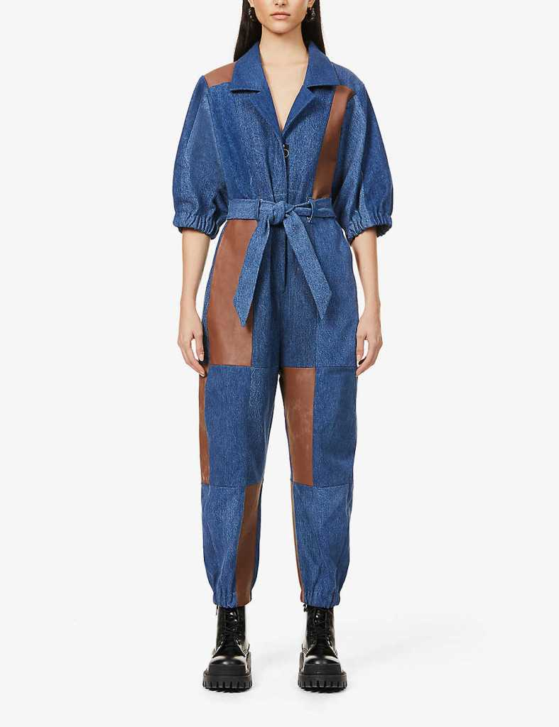E.L.V Denim x Hyundai Re:Style contrast-panel upcycled denim and leather jumpsuit