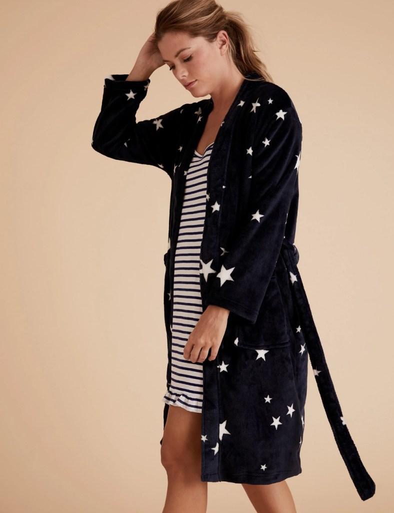 M&S COLLECTION  Fleece Star Print Wrap