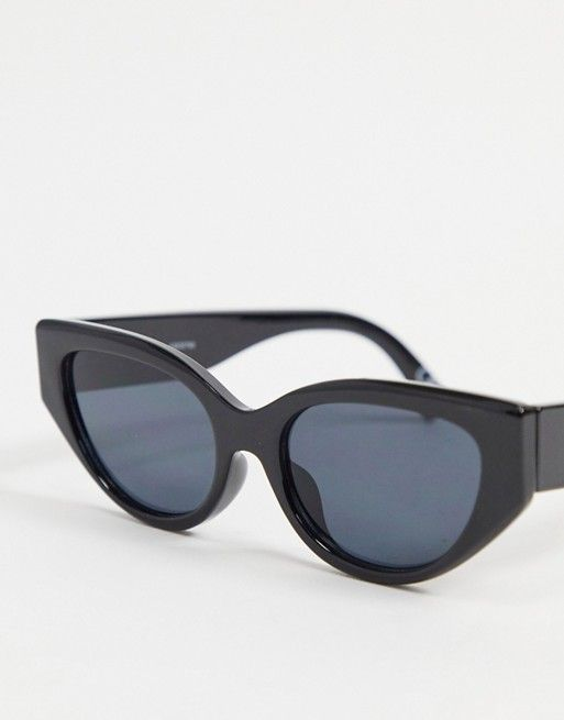 ASOS DESIGN recycled frame almond cat eye sunglasses with bevel detailing in shiny black