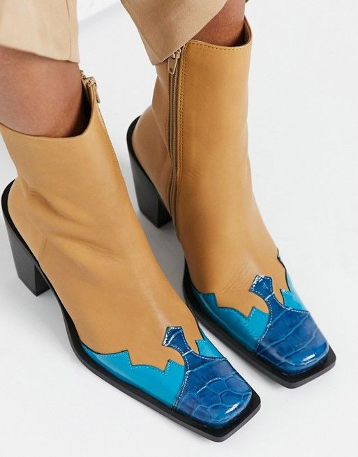 E8 by Miista Elodie contrast toe leather western boots in tan and blue