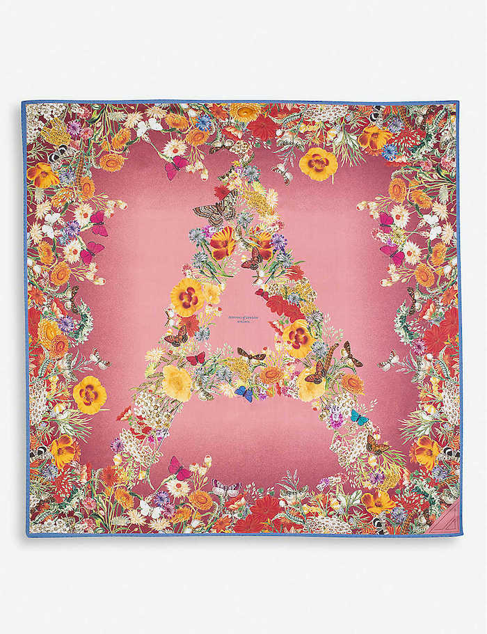 ASPINAL OF LONDON Ombré 'A' floral silk scarf 90cm x 90cm