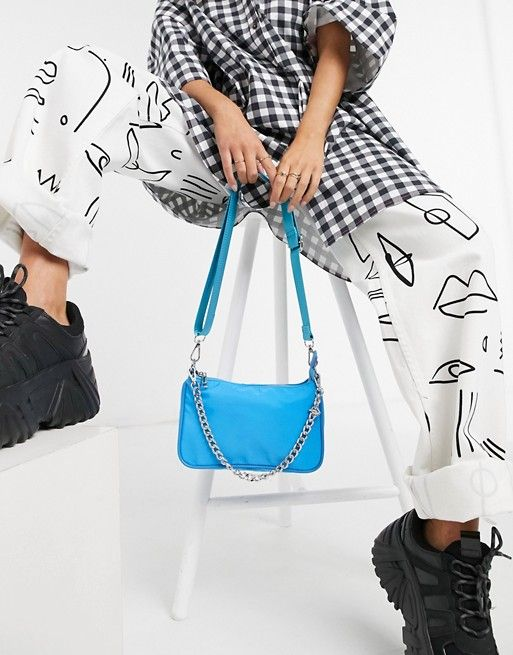 aSOS DESIGN nylon adjustable crossbody bag in blue with chain