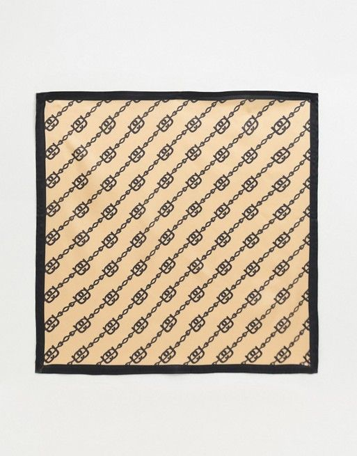 ASOS DESIGN chain print large square poly satin scarf in beige