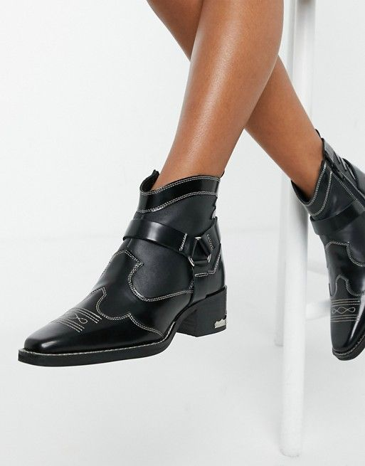 ASRA Exclusive Madison western boots with metal plating in black leather