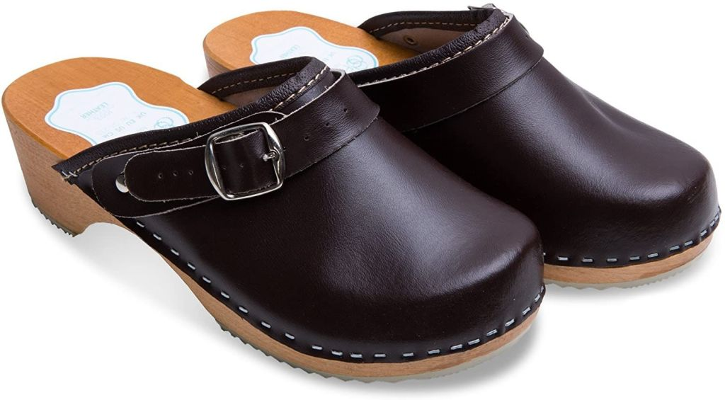 FUTURO FASHION Women's Healthy Natural Genuine Leather Wooden Sole Plain Clogs Unisex Colours Sizes 3-8 UK