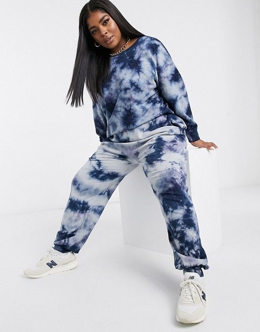 Noisy May Curve exclusive sweat co-ord in blue tie dye