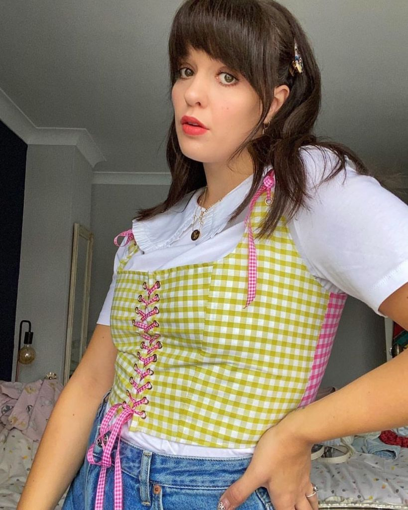 Bex Jade Fountain wearing a gingham custom corset from mia layzell