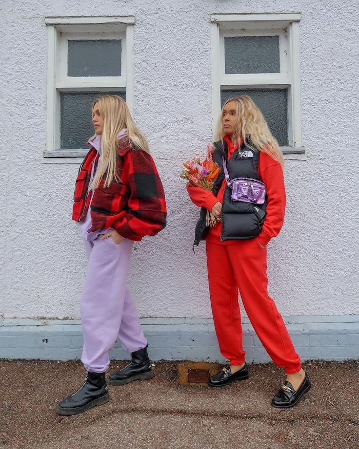 Olivia and Alice bloggers in lilac and red