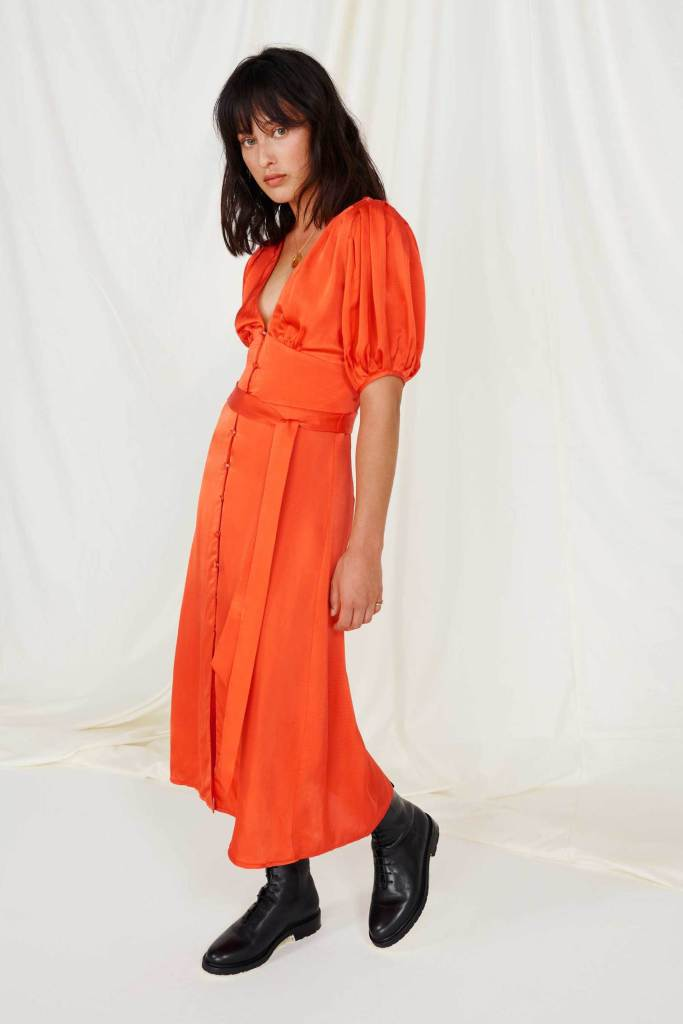 FSC Viscose Burnt Orange Button Front Tea Dress omnes