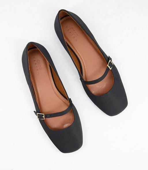 ASOS DESIGN Wide Fit Lolly mary jane ballet flats in black