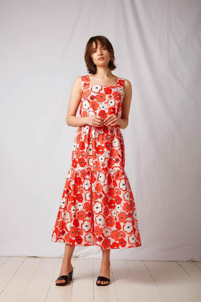 BCI Cotton Tiered Midi Dress in Poppy Print