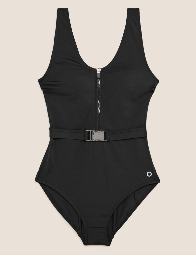 M&S COLLECTION  Belted Zip Up Scoop Neck Swimsuit
