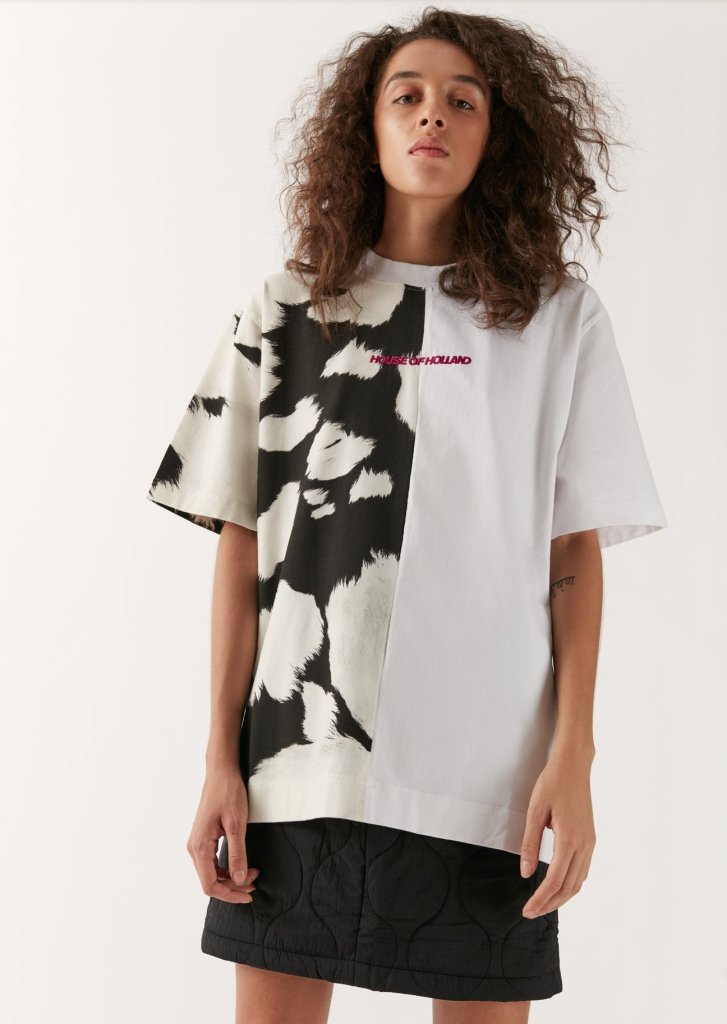 oversized tee House of Holland in cow print