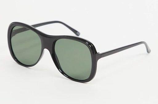 ASOS DESIGN recycled frame oversized plastic aviator sunglasses in black