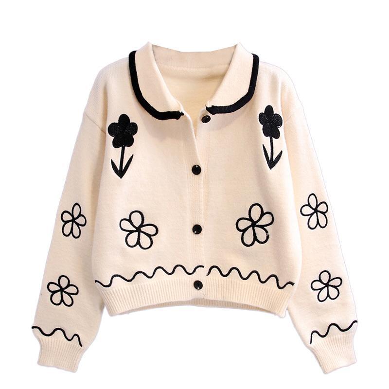 Cinta The Label Rosie Floral Cardigan in cream and black