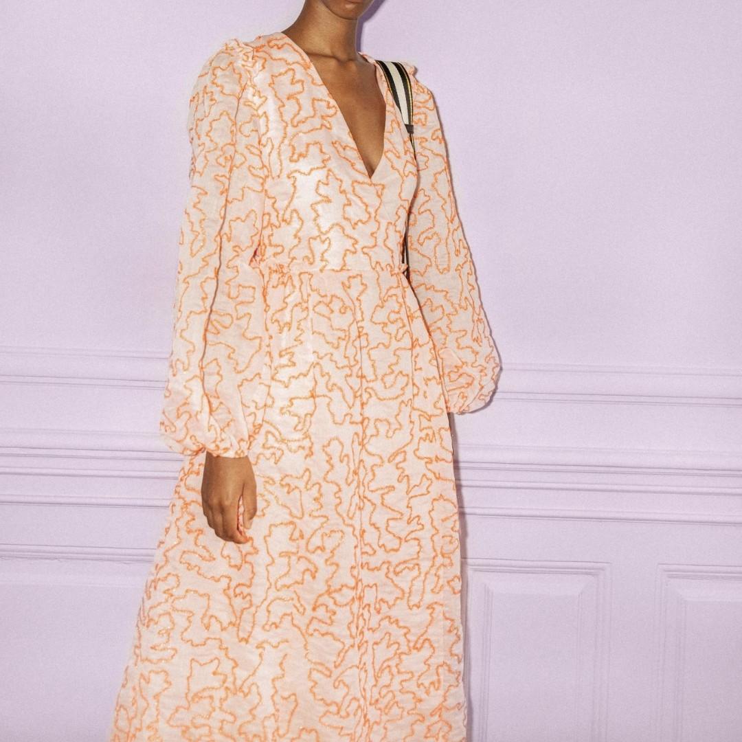 Stine Goya Bernard Organza Dress with orange lines and puff sleeves
