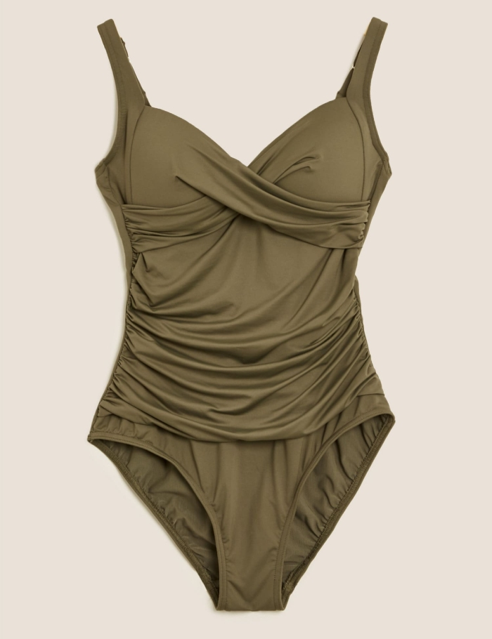 best plus-size swimsuit with tummy control - Marks & Spencer Tummy Control Padded Wrap Plunge Swimsuit