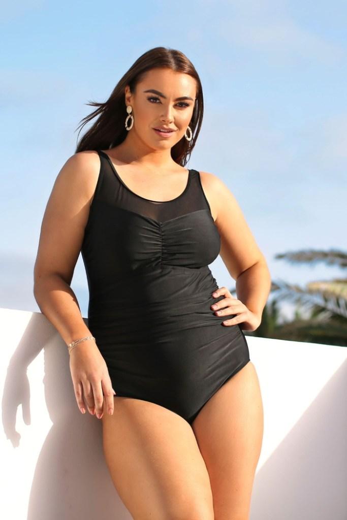 Yours Black Mesh Panel Swimsuit