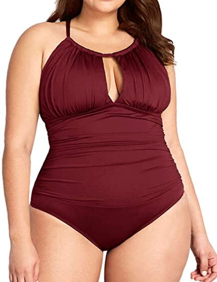 best plus-size swimsuits on amazon - BeachQueen Ruched Monokini