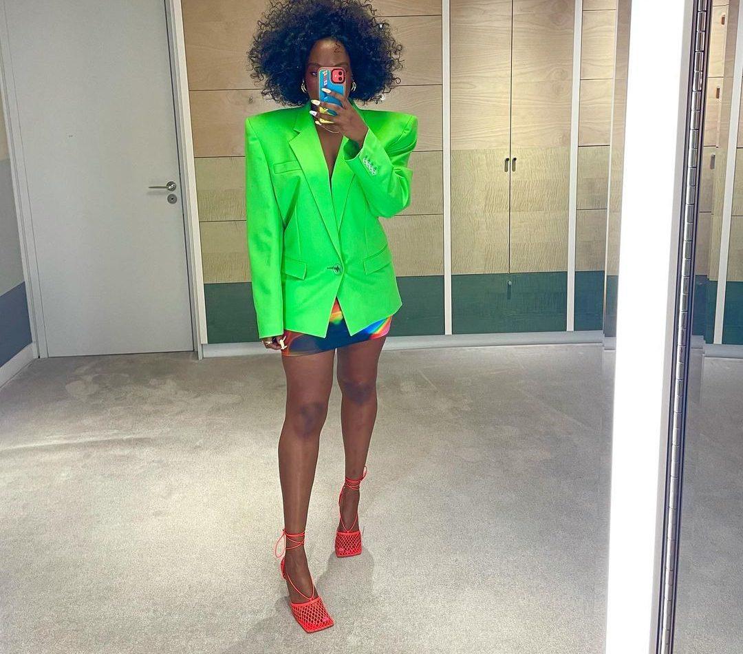 Nana Acheampong in neon green The Attico blazer