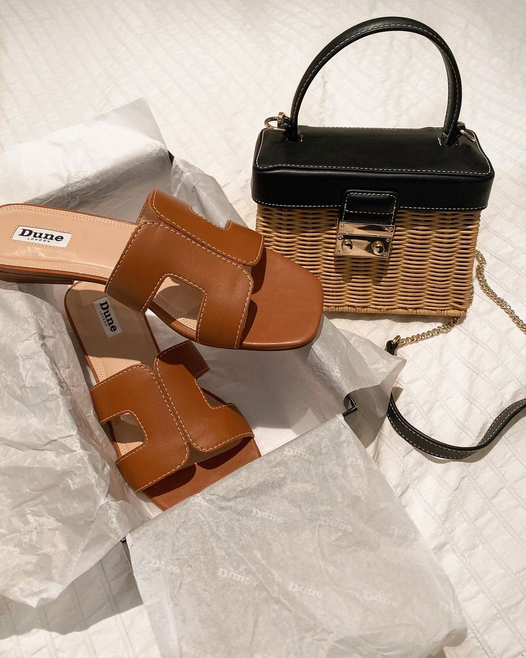 Dune loupe sandals in tan hermes dupe