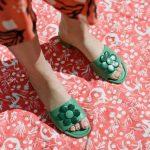 Rixo palma green sandal with flower
